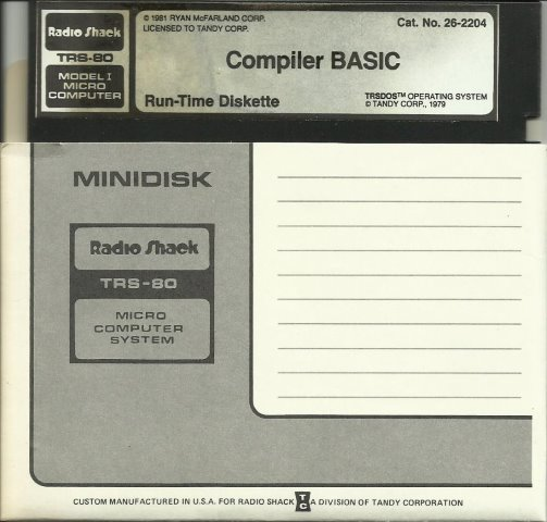 Compiler Basic TRS 80 M1 Run Time Diskette