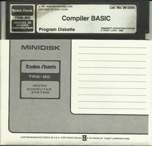 Compiler Basic TRS 80 M3 Program Diskette